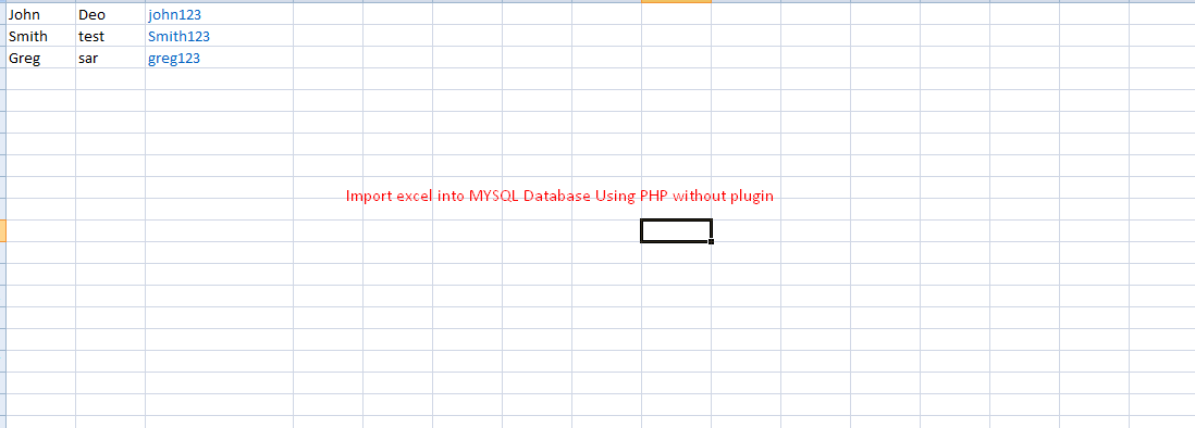 Import Excel into MySql Database Without Plugin